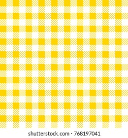 Yellow and white tablecloth pattern. Vector illustration. Seamless checkered pattern.