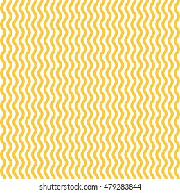 Yellow and white waves noodle seamless pattern. Vector linear ornament.