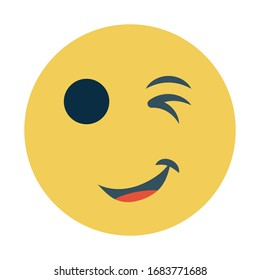 Yellow Winky Head Flat Concept, Wink Avatar Vector, facial expression color Icon design, Perfect Service Gesture on white background, winking smiley face Sign