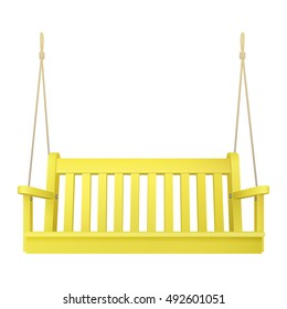 yellow wooden classic outdoor hanging patio porch swing bench furniture with ropes isolated on white background. vector illustration