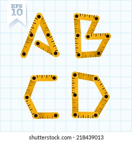 Yellow wooden folding ruler letters A B C D on a blue graph paper. Vector flat modern decorative concept typeset.