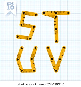 Yellow wooden folding ruler letters S T U V on a blue graph paper. Vector flat modern decorative concept typeset.