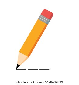 Yellow wooden pencil and line. Pencil icon on white background. Vector illustration.
