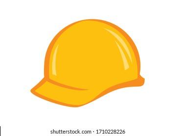 Yellow work protective helmet vector. Work helmet icon. Yellow safety helmet vector. Construction helmet icon isolated on a white background