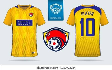 Yellow-Blue Soccer jersey, football kit, t-shirt sport, template design for sport club. Football t-shirt mock up. Front and back view soccer uniform. Flat football logo on blue label. Vector.