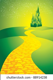yellowbrick road leading to emerald city
