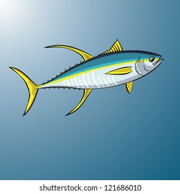 Yellowfin Tuna swimming in the ocean