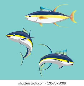Yellowfin Tuna Various Poses Cartoon Vector