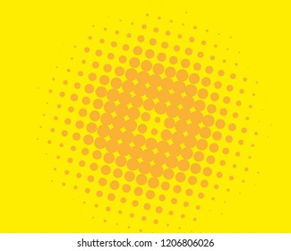 Yellow-orange halftone background. Digital gradient. Abstract backdrop with circles, point, dots. Dotted pattern. Futuristic panel Vector illustration