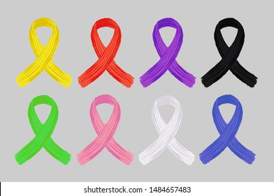 Yellow,red,purple,red,black,green,pink,white,blue  ribbon. ribbon cancer vector set.ribbon cancer vector icon. ribbon cancer vector badge