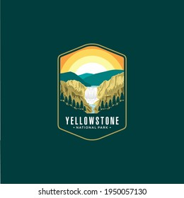 Yellowstone Falls National Park Lineart Emblem logo patch illustration