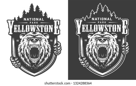 Yellowstone national park vintage monochrome logo with ferocious bear and forest silhouette isolated vector illustration