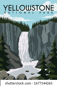 Yellowstone Vector Illustration Background. Travel to Yellowstone National Park United State of America. Flat Cartoon Vector Illustration in Colored Style.