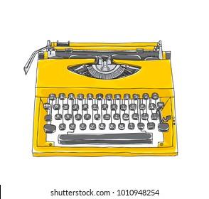 yellowTypewriter old hand drawn cute art illustration