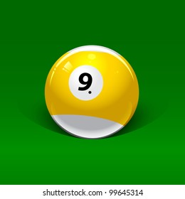 yellow-white billiard ball number nine on a green background
