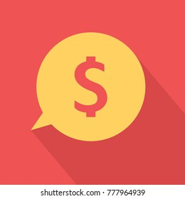 Yelow money icon over red. Vector illustration
