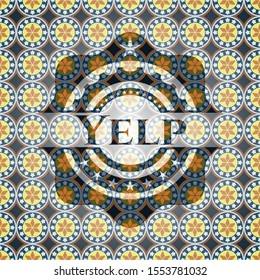 Yelp arabic badge background. Arabesque decoration.