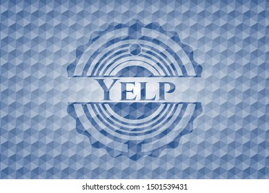 Yelp blue badge with geometric background. Vector Illustration. Detailed.