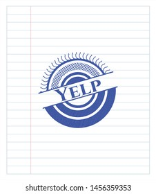 Yelp draw with pen effect. Blue ink. Vector Illustration. Detailed.