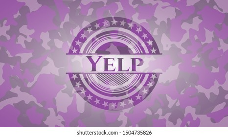 Yelp pink and purple on camouflage texture. Vector Illustration. Detailed.