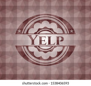 Yelp red seamless emblem with geometric background.