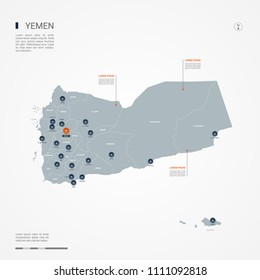 Yemen map with borders, cities, capital Sana'a and administrative divisions. Infographic vector map. Editable layers clearly labeled.