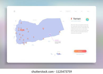 Yemen map infographics vector template with cities, capital Sana'a and pointer marks.