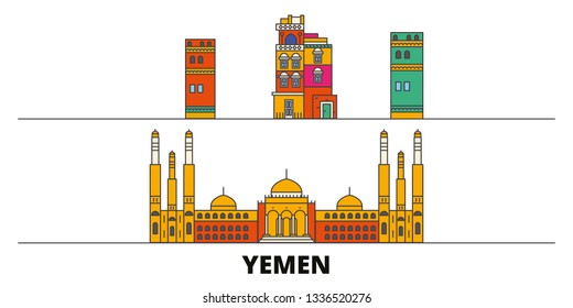 Yemen, Sanaa flat landmarks vector illustration. Yemen, Sanaa line city with famous travel sights, skyline, design.