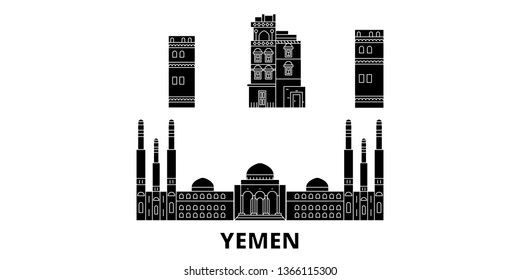 Yemen, Sanaa flat travel skyline set. Yemen, Sanaa black city vector illustration, symbol, travel sights, landmarks.