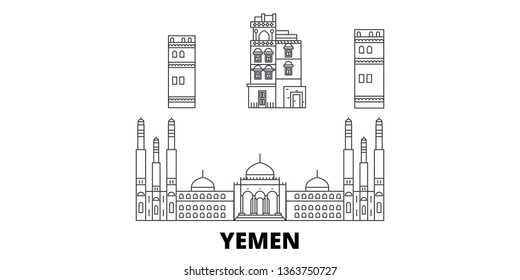 Yemen, Sanaa line travel skyline set. Yemen, Sanaa outline city vector illustration, symbol, travel sights, landmarks.