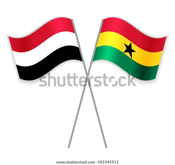 Yemeni and Ghanaian crossed flags. Yemen combined with Ghana isolated on white. Language learning, international business or travel concept.