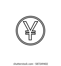 Yen coin line icon, finance and business, yen sign vector graphics, a linear pattern on a white background, eps 10.