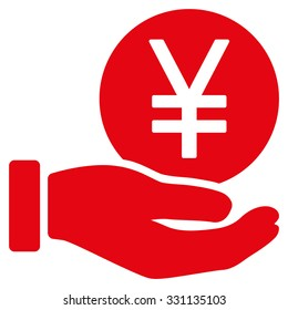 Yen Coin Payment vector icon. Style is flat red symbol, rounded angles, white background.