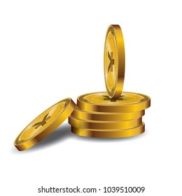 Yen Currency Gold coin Stack. Financial growth concept with golden coin yen.