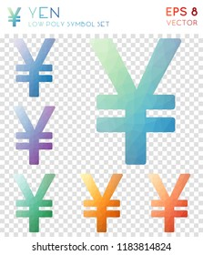Yen geometric polygonal icons, brilliant mosaic style symbol collection. Uncommon low poly style, modern design.