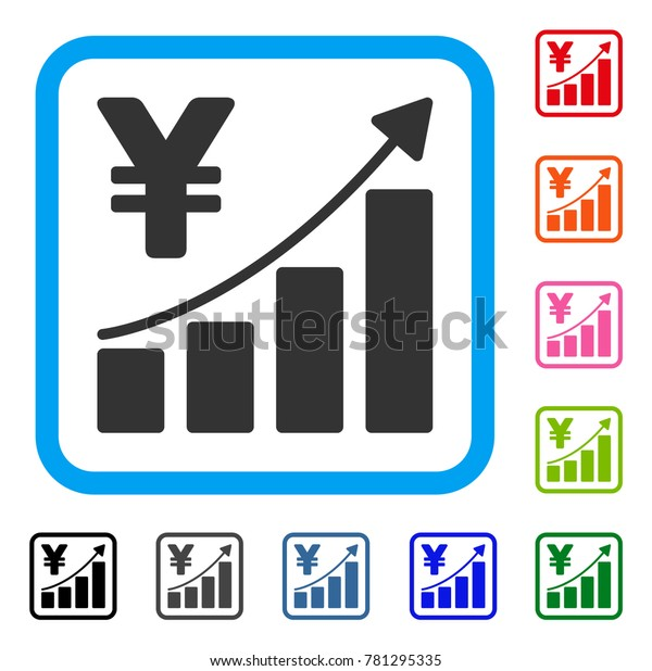 Yen Growth Graph icon. Flat grey pictogram symbol inside a blue rounded squared frame. Black, gray, green, blue, red, orange color additional versions of Yen Growth Graph vector.