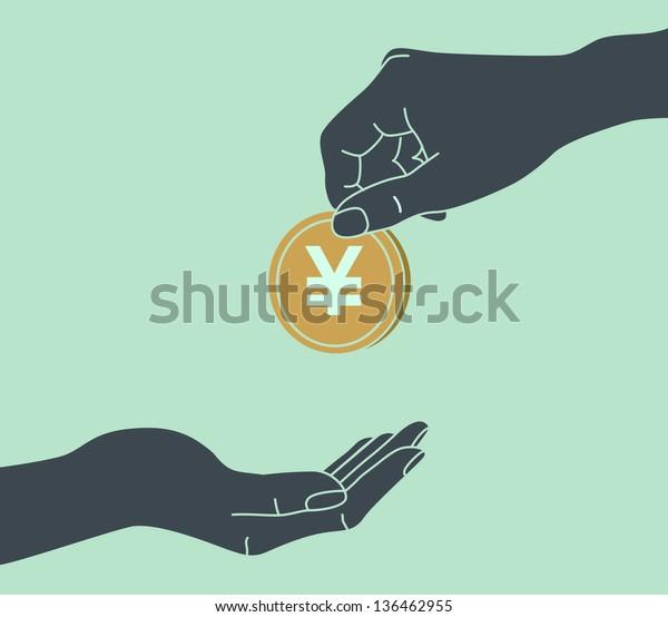 YEN. Hands Giving & Receiving Money