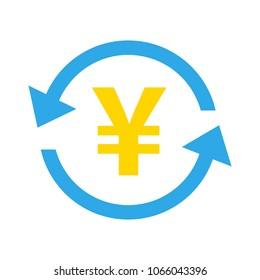 Yen icon, vector Yen sign symbol - money currency illustration