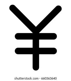 Yen Line Vector Icon
