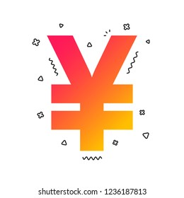 Yen sign icon. JPY currency symbol. Money label. Colorful geometric shapes. Gradient yen icon design.  Vector