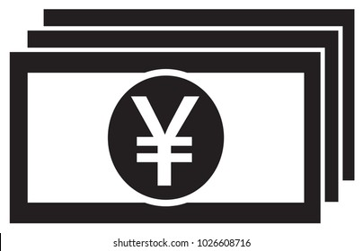 Yen, Yuan or Renminbi currency icon or logo vector on a bank note or bill. Symbol for Japanese or Chinese banking or Japan and China finances.