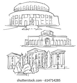 Yerevan Armenia Famous Buildings, Monochrome Outlined Travel Landmarks, Scalable Vector Illustration