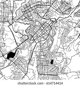 Yerevan Armenia Vector Map Monochrome Artprint, Vector Outline Version for Infographic Background, Black Streets and Waterways
