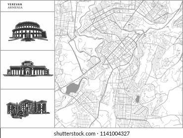 Yerevan city map with hand-drawn architecture icons. All drawigns, map and background separated for easy color change. Easy repositioning in vector version.