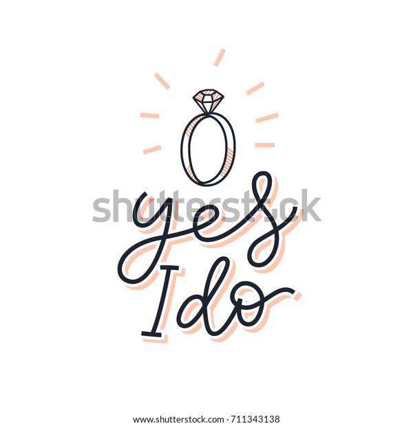 はいブライダルサインをします 結婚の申し込みは カード 招待状 ポスター Tシャツに印刷されます 単純な線の手書きの文字のイラスト 新郎 新婦 結婚式用のかわいいベクター画像デザイン のベクター画像素材 ロイヤリティフリー