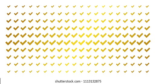 Yes icon golden halftone pattern. Vector yes items are arranged into halftone grid with inclined golden gradient. Designed for backgrounds, covers, templates and abstract compositions.
