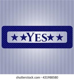 Yes jean or denim emblem or badge background