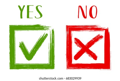 YES and NO acceptance and rejection symbols vector for vote, election choice. Brush painted symbolic approval icons in square frames. Tick and cross signs, check marks graphic design.