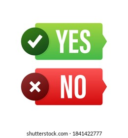 Yes and No button. Feedback concept. Positive feedback concept. Choice button icon. Vector stock illustration.