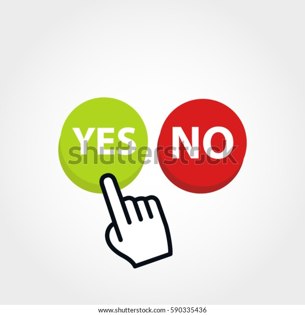Yes No Buttons Hand Pressing Yes Stock Vector (Royalty Free